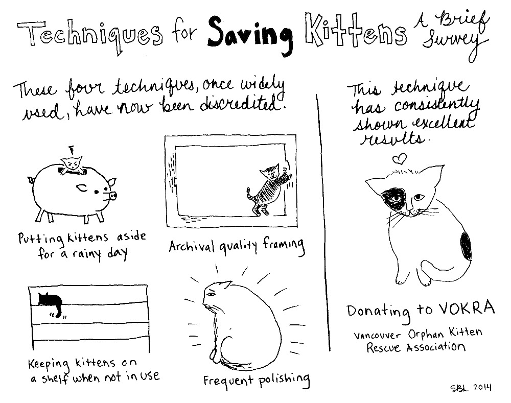 One of three comics by Sarah Leavitt in support of kitten rescue